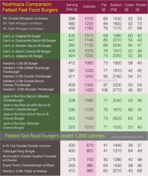 This chart compares the calories and fat contained in hamburgers served at some leading fast food chains