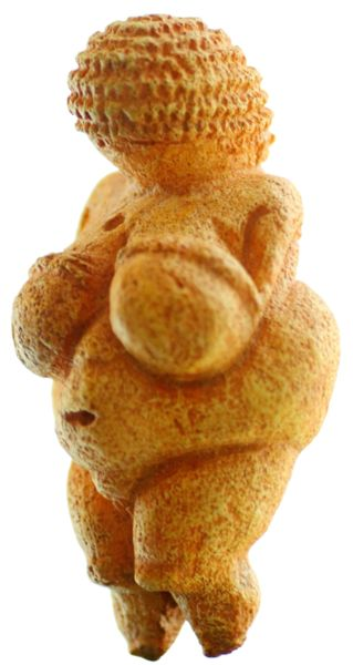 Venus of Willendorf is a limestone carving of a woman's body discovered in Lower Austria. It is believed to date from 24,000 BCE – 22,000 BCE. Her breasts are swollen to absurd proportions.