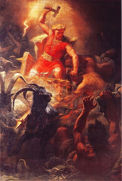 """Thor's Battle Against the Giants"" by Swedish painter Marten Eskil Winge, 1872."